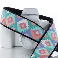 Pastel Tribal dSLR Camera Strap,  Southwestern, Nikon camera strap, Canon Camera Strap, Pocket, Mirrorless, Camera Accessories, SLR,168 a