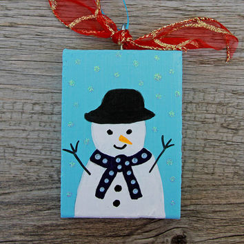 Painted Wood Ornament, Blue Holiday Ornament with Painted Snowman, Handmade Christmas Tree Decoration, Christmas Ornament, Primitive Art
