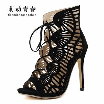 New Women Pumps 2018 Fashion Gladiator Thin Heel Peep Toe Shoes Women Flock Casual Lace Up Plus size 35-43 High Heels Shoes