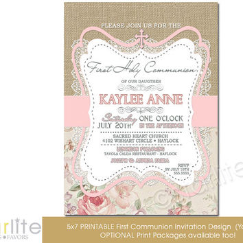 First Communion Invitation - Girl - burlap lace pink beige floral - 5x7 vintage style, typography, - unique communion invitation - You Print
