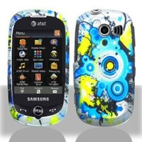 Blue Polka Daze Yellow Splash Silver Rubberized Design Snap on Hard Shell Cover Protector Faceplate Skin Case for AT&T Samsung Flight2 Flight 2 II A927 + LCD Screen Guard Film (Free Wristband)