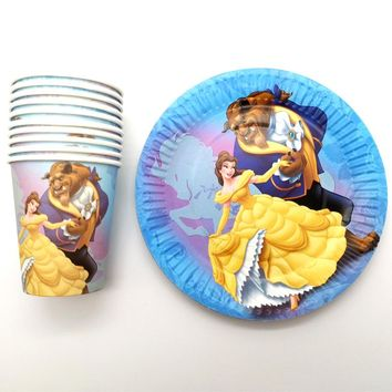 60PCS Beauty Beast Theme Paper Plates Cups Birthday Party Decoration Happy Baby Shower Girls Favors for 30 People Tableware Set