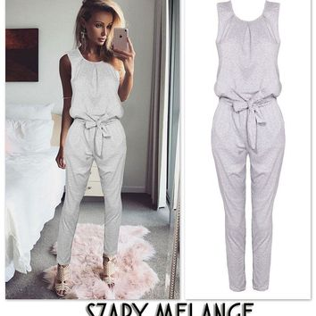 US Women Sleeveless Lace Up Jumpsuit Casual Summer Rompers Playsuit Long Pants