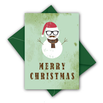 Hipster Snowman Christmas Card + Inc. an envelope in a color of your liking