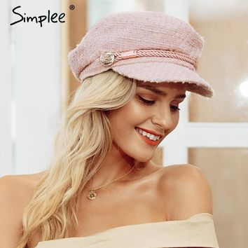 Trendy Winter Jacket Simplee Hot stamping visor military cap women hat Autumn winter cotton fashion ladies cap Vintage England style flat cap 2018 AT_92_12