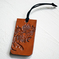 Rooster Leather Luggage Tag - Genuine Leather Luggage Tag - Fighting Cock - Mexican Rooster - Your Choice of Stain and Lace Color