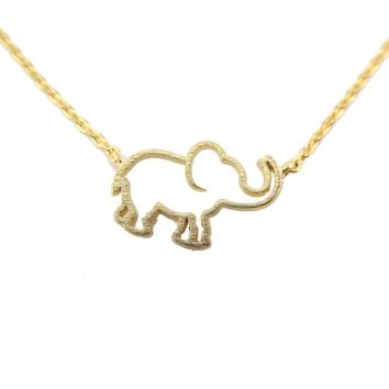 Minimal Baby Elephant Outline Shaped Pendant Necklace in Gold | Animal Jewelry