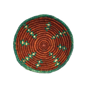 Native Woven Basket / Rich Colors / Green, Orange Tribal Pattern / Rustic Southwestern Decor / Unique Storage / Vintage Handmade Container