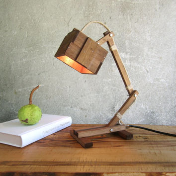 Kran V walnut - wooden desk table working lamp unique style lighting night MADE TO ORDER
