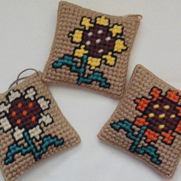 Sunflower Pillow Ornaments in Needlepoint SET OF THREE