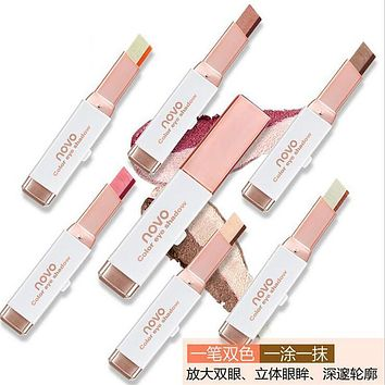 Double Color Eyeshadow Stick Stereo Gradien Shimmer Color Eye Shadow Cream Pen Eye Makeup Palette Cosmetics