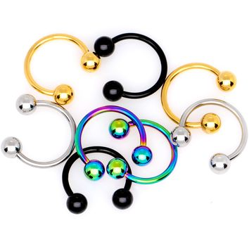 "16 Gauge 5/16"" Rainbow Black Gold Tone PVD Pack of 8 Horseshoe Barbells"