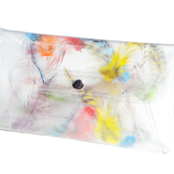 Clear clutch envelope  transparent bag with colorfull real feather modern girl  woman envelope purse silver naps evening bag clear bags