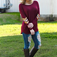 Long sleeve tunic top with sequin arrows