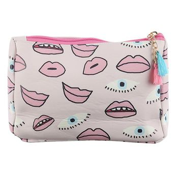 Mulit Color Eyes Lips Print Vinyl Pouch Wallet Bag Accessory