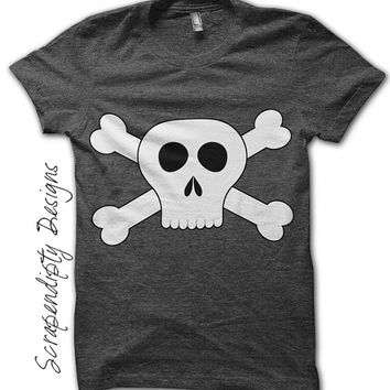 Iron on Skull and Crossbones Shirt PDF - Pirate Iron on Transfer / Pirate Birthday Party Outfit / Digital Toddler Boys Custom Tshirt IT319-C