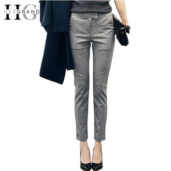 HEE GRAND Pantalon Femme Plus Size S-2XL Full Length Solid Color 2016 Spring New Arrival Slim Casual Women Pants WKX270