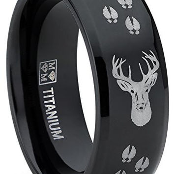 8MM Black High Polish Deer Head Track Titanium Ring Wedding Band, Men's Hunting Ring, Outdoor Jewelry | FREE ENGRAVING