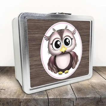 Cute Owl Lunch Box - Rustic Pink with Brown Wood Owl Cartoon Illustration - Tin School Lunch Art Craft Supplies Box - Chalkboard inside