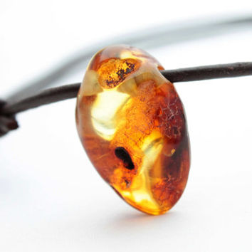 Honey Oval Baltic Amber Necklace Pendant Yellow Raw Stone Charm For Man Unisex Jewelry Rustic Gift for him Dad Dude Boy