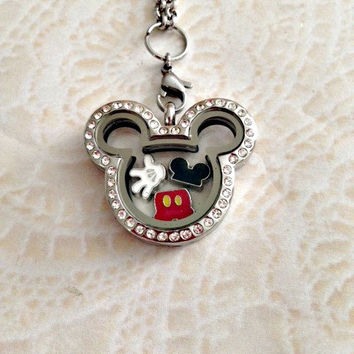 Mickey inspired stainless steel memory locket with crystals and  charms