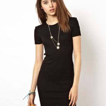 Dress In Rib With Short Sleeves