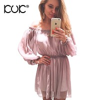 Kuk Off Shoulder Dress Chiffon Women Boho Clothing Hippie Chic Party Evening Vestidos Pink Dress Summer Beach Tunic Femme A346