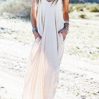 Streetstyle  Casual Sexy V neck Beach Halter Solid Color Dress
