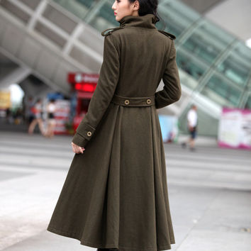 Army Green Coat Big Sweep High Collar Women Wool Winter Coat Long Jacket Tunic / Fast Shipping - NC499