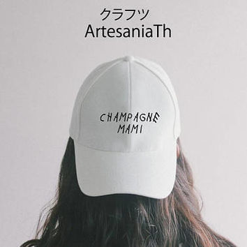 Champagne Mami Dad Hat Black Pink White - Baseball Cap, Tumblr hat , Dad Hat Dad Cap Baseball Hat , Low-Profile Baseball Cap Hat