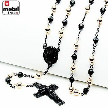 "Jewelry Kay style 6mm Black  Rose Gold Bead Guadalupe & Jesus Cross 28"" Rosary Necklace HR 600KRGK"
