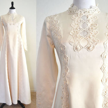 1960s Wedding Dress Art Nouveau Details Boho Chic Style Edythe Vincent for Alfred Angelo