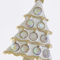 CRYSTAL STUDDED CHRISTMAS TREE ACCENT PENDANT BROOCH