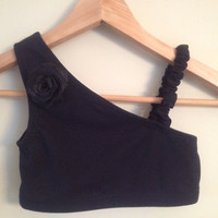 One Shoulder Crop Top with Scrunch Strap and by linabeandancewear