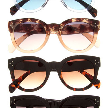 Oversized Rounded Three Dot Gradient Sunglasses - Black, Black/Tortoise, Tortoise/Clear or Tortoise/Nude