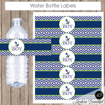 Nautical Water Bottle Wraps - Anchor Navy and Lime Green Chevron Baby Shower Water Bottle Label - Bottle Wrap  It's a Boy! INSTANT nautical2