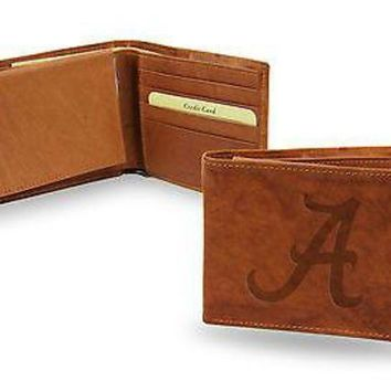 ICIKIHN Alabama Crimson Tide Wallet BROWN LEATHER BillFold Embroidered University of