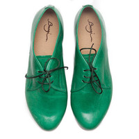 Green Leather Shoes, Green Oxford Shoes, Close Shoes, Flat Shoes, Green Shoes, Green and Grey