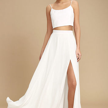 Thoughts of You White Two-Piece Maxi Dress