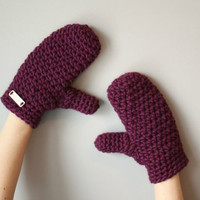 Warm Woolen Crochet Mittens - Deep Plum Purple - Oxblood