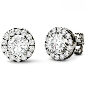 Forever One Round Colorless Moissanite Halo Stud Earrings