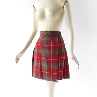 Vintage Wool Kilt / 1950s Skirt / Girl's Skirt / Red Plaid Skirt / 21-23W Girl's Size 4-8