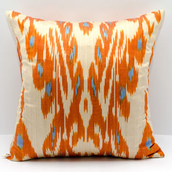 15x15 ikat pillow cover, cushion, pillow case, cushion cover pillowcase, orange, cream, pillow, decorative pillow, design pillow