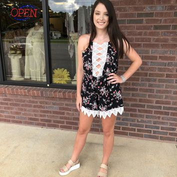 """Care Free"" Crochet Trim Romper"