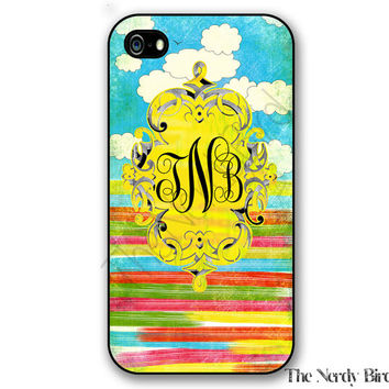 Personalized iPhone 4, 5, 5c and 6 and Galaxy s3, s4 and s5 - colorful with sky Monogram