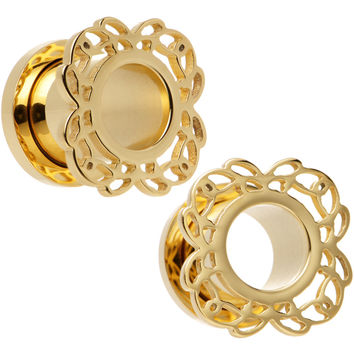 00 Gauge Gold PVD Filigree Flower Screw Fit Tunnel Plug Set