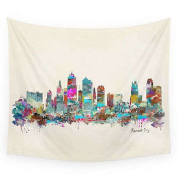 Society6 Kansas City Missouri Skyline Wall Tapestry