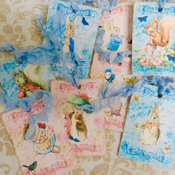 Gift Tags Peter Rabbit Gift Tags Beatrix Potter Gift Tags Handmade Set 8