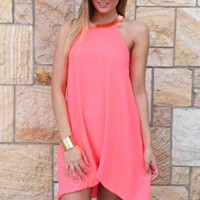 Coral Tube Beaded Collar Curved Hem Dress