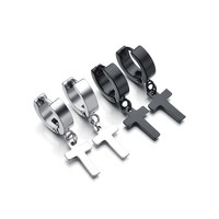 Newest Punk Stainless Steel Black Cross Earrings Silver Plated Drop Earring Classic Design Jewelry for Men